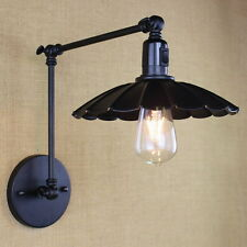 Black Industrial Metal Wall Lamp Long Swing Arm Sconce Lights Lighting Fixtures