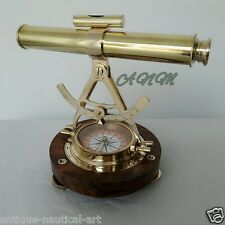 TELESCOPE ALIDADE WITH WOODEN BASE COMPASS NAUTICAL BRASS MARITIME