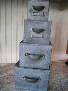 "Vintage Style Farmhouse - Architectural Set of 4  Metal Nesting Boxes 3"" to 6"""