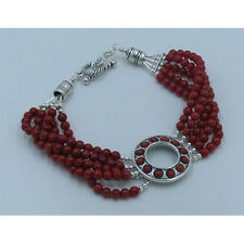 5 Strand 925 Sterling Silver Natural Red Italian Coral Beaded Bracelet