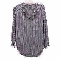 Aerie Womens Blouse Blue White Stripe Long Sleeve Scoop Neck S