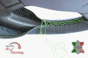 FOR LINCOLN ZEPHYR 06-06 BLACK PERF LEATHER STEERING WHEEL COVER  GREEN STITCH