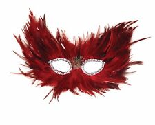 Red and Black Feather Eye Mask Fire Element Masquerade Ball Fancy Dress Party