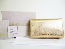 Authentic Jimmy Choo Gold Patent Leather Bifold Wallet Purse #7334