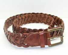 Eddie Bauer Braided Leather Men's Belt Speckled Brass Buckle Vintage