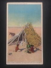 Mint NM USA Postcard Native American Indians Navajo Eating Breakfast Teepee