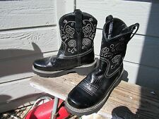 Ariat FATBABY Black Leather and Suede Cowgirl Western Boot US 11 B EU 42.5 M EUC