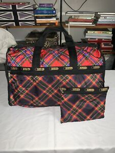 LeSportsac Large Red Plaid Weekender Duffle New No tags