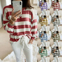 Women Casual Stripe Print Long Sleeve Blouse Plus Size Loose Tops Pullover Shirt
