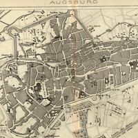 Augsburg Germany 1873 detailed old city plan map