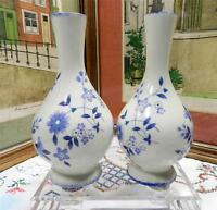 """2 STAFFORDSHIRE ENGLAND POTTERY MAYFAYRE BLUE FLORAL 6 1/2"""" FOOTED BUD VASES"""