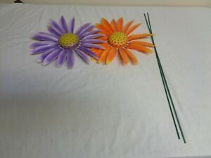 Set of 2 colorful Orange & Purple Flowers with springs pelals