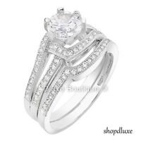 1.90 CT HALO ROUND CUT AAA CZ .925 STERLING SILVER WOMEN'S WEDDING RING SET