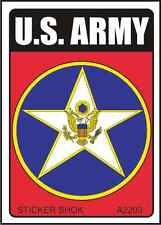 """DECAL A2203 U.S. ARMY INSIGNIA Size 2.5"""" x 3.5"""" on white vinyl"""