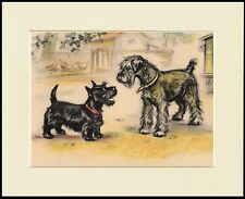 SCHNAUZER AND SCOTTISH TERRIER CHARMING DOG PRINT MOUNTED READY TO FRAME