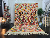 "Boujad Tribal Handmade Moroccan Rug 6'4""x10'1"" Berber Abstract Colorful Wool Rug"