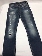SILVER TUESDAY Jeans Light Destroyed Low Bootcut Stretch Jeans 24 x 31Buckle  C4