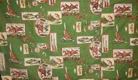 4 Vintage Curtain Panels Novelty Fabric Fishing Hunting Sportsman 62x34