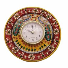 Unique Wall Clock Marble Meenakari Art 6 Inch | Home D'cor | Handmade