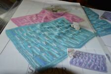 Sirdar Knitting Pattern 1313 Baby Blankets Diagonal, Log Cabin, Zig Zag