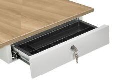 Unterbau Schublade Schreibtisch - Hängeschublade aus Stahl - WEISS Abschließbar
