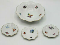 Lovely Vtg Schumann Bavaria Dresden Floral Flowers Bowl & Small Dishes-Candy Nut