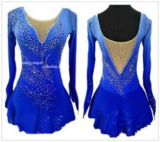 Custom Magnificent Ice Figure skating Dress Blue Gymnastics Dance Dress W100