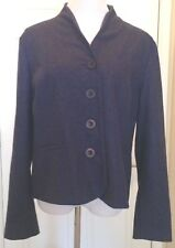 Orvis Blue Gray Stand Collar Jacket Blazer Fully Lined Wool Blend Womens Size 18