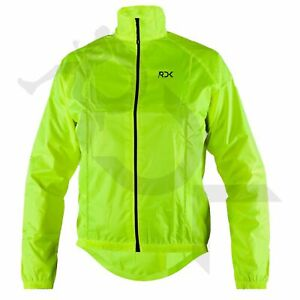 MEN CYCLING JACKET HIGHLY VISIBLE HI VIZ WINDPROOF WATERPROOF BREATHABLE WALKING