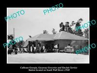 OLD LARGE HISTORIC PHOTO OF CALHOUN GEORGIA, THE SINCLAIR SERVICE STATION c1940