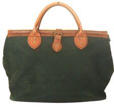 Vintage BANANA REPUBLIC Black Canvas & Leather Satchel Tote Weekender Doctor Bag
