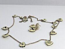CHANEL NECKLACE Enamel Heart Bow 06p CC Logos Necklace Earrings Set.