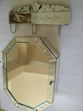 MIRRORED SET Wall Mounted Cabinet w/Mirrored Hanger Bath Venetian/French