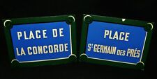 2 Vtg French Location Signs Place St German Des Pres Place De La Concorde