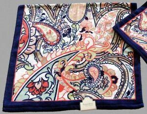 Velour Paisley Jacobean Navy Coral Floral Colorful Kassafina Bath Towel NWT