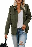 Womens Military Jacket Zip Up Snap Buttons Lightweight, Army Green, Size Medium