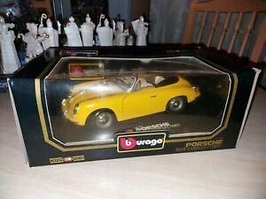 Burago 1:18 Porsche 356B Cabriolet 1961 - Yellow (3031) mint