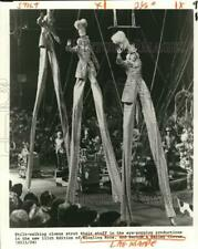 1982 Press Photo Clowns on Stilts at Ringling Bros. and Barnum & Bailey Circus