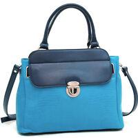 Matte Croco Leather Handbag Satchel Bag with Buckle Accent & Shoulder Strap