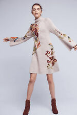 NWT Anthropologie Knitted & Knotted Embroidered Petals Swing Sweater Dress SP