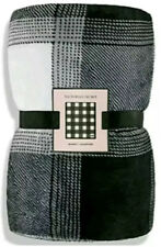New Victorias Secret Blanket Fleece Throw Plaid Black Gray White Check 50x60