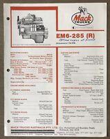 1981 Mack Maxidyne Diesel EM6-285 (R) Engine original Australian sales brochure.