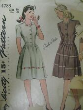 Vintage 30's Simplicity 4783 DART-FITTED BODICE DRESS Sewing Pattern Women Teen