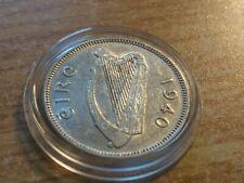 Scarce XF- AU 1940 Ireland Shilling 750 Silver w new snug acrylic Holder.