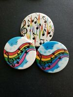 Vintage Collectible Pin Back Buttons Lot of 6 Rainbow Birds and Music Notes