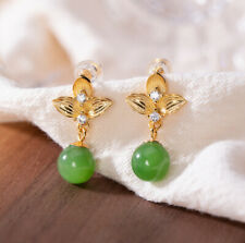 I02 Earring Silver 925 Gold Plated Ball Green Jade White Crystal