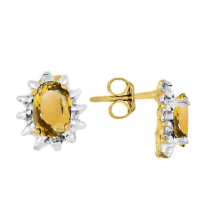 November Birthstone Earrings Citrine / Yellow Topaz Yellow Gold Plated Silver o