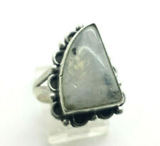 Beautiful Design Triangle Moonstone Sterling Silver 925 Ring 9g Sz.8.75 HAN200
