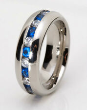 Classic Wedding Band Ring Stainless Steel Eternity Ring Blue & White CZ Gems