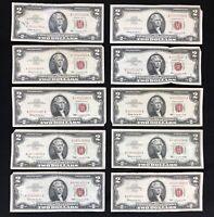 USA 2 Dollar 1963 United States Note Red Seal Schein 2 US $ Banknote aus Lot